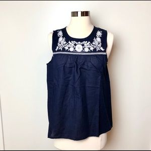 J. Crew Size 4 Navy Floral Embroidered Linen Top